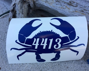 Crab Home Address Numbers, Personalized Crab Decal, Mailbox Address Vinyl Decal, Personalized Decal, Nautical Decals, Christian Decals