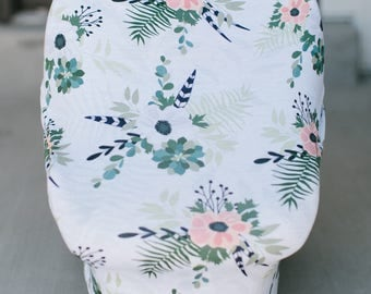 3-in-1 Stretchy Baby Nursing Cover, Car Seat Canopy, and Shopping Cart Cover (WINTER FLORAL)