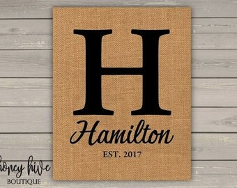 last name initial, burlap sign, frameable print, 8x10, home decor, wall art, rustic sign, wedding present, shower gift, Hamilton monogram