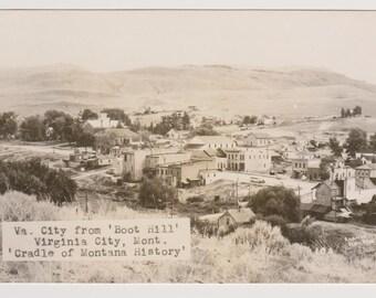 Real Photo Postcard, Va. City from 'Boot Hill' Virginia City, Mont. RPPC, Vintage Postcard, Ronnie Sinclair, Ephemera, Unused