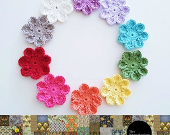 Crochet Flower Magnets - Set of 10