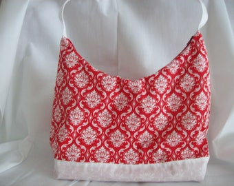 """Red/White ,Women's/Teen's , purse/ handbag, Handle top/Shoulder strap,Zipper at top,13"""" across top,20"""" from top of strap to bottom of purse"""