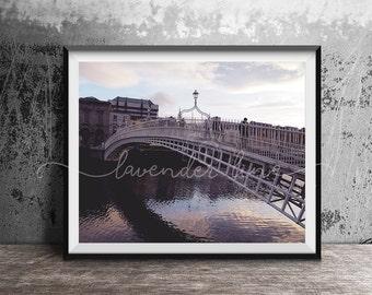 HA'PENNY SUNSET, Colour Photography Print, Dublin Sunset, Ha'Penny Bridge, City, River Liffey, Travel, Wanderlust, Home Decor