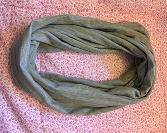 Gray Infinity Scarf with Gold Shimmer Stripes