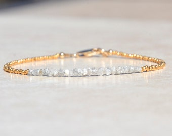 Diamond Bracelet, Christmas Gifts, Raw Rough Diamonds, April Birthstone, Bead Gemstone Bracelet, Jewelry, Gold Vermeil, Birthstone Bracelet