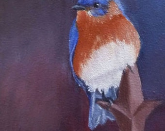 Bluebird  5x7 blank greeting card from my original oil painting with envelope