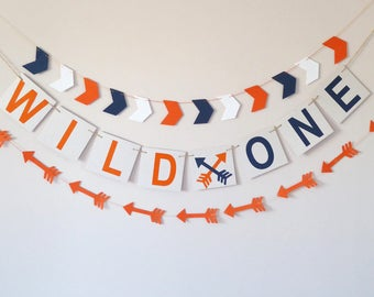 Wild one banner, arrow garland, birthday banner, wild one nursery, birthday backdrop