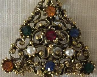 Vintage 1950s Rhinestone Christmas Pin