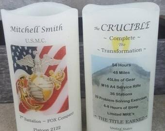 United States Marine Corps Crucible Candle Have it Personalized EGA Hill USMC Crucible Facts on Back Lantern