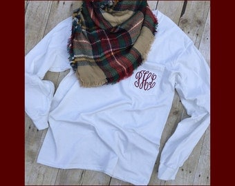 Monogram Long Sleeve Pocket Tee | Monogram Tee | Monogram T Shirt | Monogram T-Shirt | Monogram Long Sleeve Shirt | Monogram Fall Tee