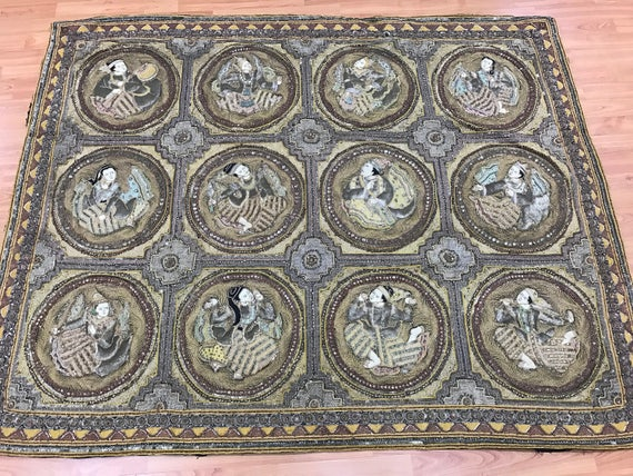 "4'4"" x 5'4"" Antique Chinese Tapestry - 1920s - Hand Sown Beads - One of a Kind"