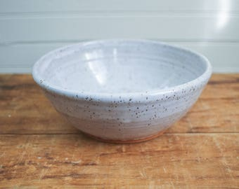 White Speckled Ceramic Serving/Mixing Bowl