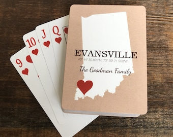 Custom Coordinate Personalized Love Your Town and State Playing Cards, Custom State Deck of Cards
