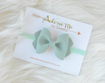 Soft Mint Faux Leather Bow // 3 sizes // headband or clip