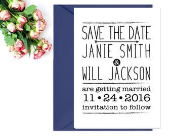 Wedding Save the Date Stamp - Save the Date Invitation Stamp - Save The Date Postcard Stamp - Rustic Wedding Stamp - Wedding Rubber Stamp