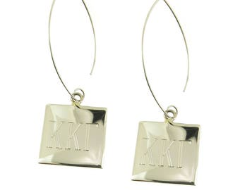 925 Sterling Silver Square Monogrammed Greek Sorority Letters Dangle Earrings
