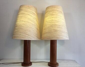 Pair of Large Teak Lamps
