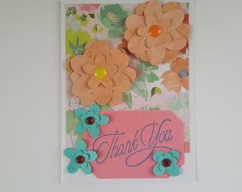 Thank You Card Handmade Thank You Card with Flowers
