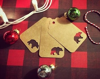 20 Kraft Paper Bear Gift Tags, Christmas Tags, Christmas Gift Tags, Holiday Gift Tags, Brown Tags, Brown Gift Tags
