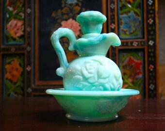 Vintage Blue Jadeite Avon Rosewater Vanity Cruet Pitcher with Basin