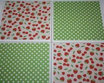Strawberry print/ceramic tile/drink coasters/strawberry decor/kitchen decor/summer decor/housewarming gift/gift for her/home decor