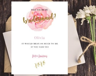Printed w/ Envelope, Will You Be My Bridesmaid, Will You Be My Maid of Honor, Watercolor, Rose Bridesmaid Card, Bridesmaid Gift, Gold Foil