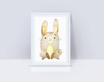 Printable Rabbit Nursey Decor, Rabbit Instant Download, Rabbit Nursery Decor, Nursery Wall Art, Rabbit