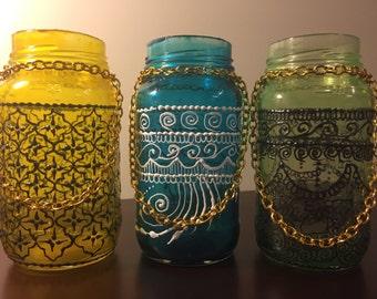 Set of 3 Bohemian Moroccan Mason Jars Lanterns// Moroccan Lamps// Tinted Mason Jars// Candleholders// Boho Lanterns// Rustic Decor// Jars
