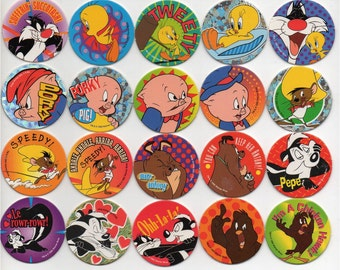 LOONEY TUNES - Complete set of 60 Pogs Tazos Tasos - Bugs Bunny, Daffy Duck, Wiley Coyote, Sylvester, Tweety