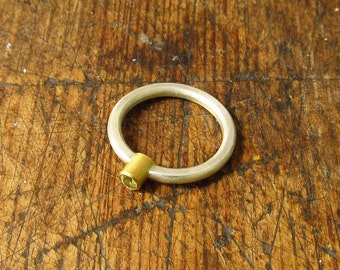 yellow sapphire 22k gold and silver ring