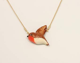 Necklace Bird Robin Small (Polymer Clay) Handmade Animal Jewelry Nature Boho