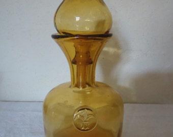 Bottle blown yellow glass, decanter, flask deco fleur de lis Cap Dome, vintage, chic deco
