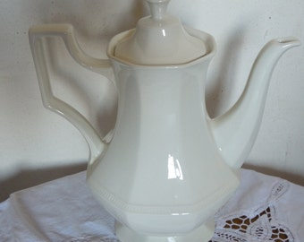 English China coffee pot, porcelain, made in England, shabby chic, elegant, octagonal design.