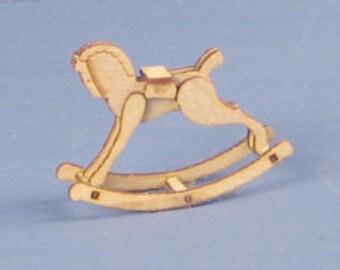 1:48 Dollhouse Miniature Rocking Horse Kit/ Quarter Inch Scale Miniature Toy KBM Q407
