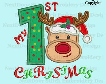 First Christmas embroidery design, reindeer face 1st xmas number 1-9 selection,  chrs-145-1