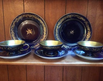 SALE!!  Rosenthal Selb Germany Cobalt Blue and Gold Echt Tea Cups Saucers and Tea Dessert Plates