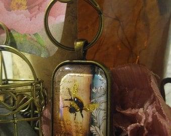 Bumblebee Keychain, glitter keychain, thinking of you, just because, happy birthday, gardener's gift, housewarming, new home