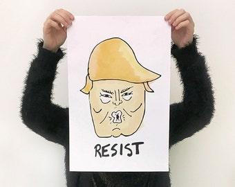 Printable: RESIST, an anti-Trump poster.