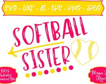 Softball Sister SVG - Softball SVG - Sister SVG - Sports Sister svg - Files for Silhouette Studio/Cricut Design Space