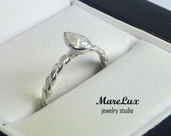 Pear Cut Diamond Silver Flattened Braided Ring, 5x3 mm Pear Cut White Diamond CZ Stackable Flat Twisted Ring White Stone Flat Rope Ring