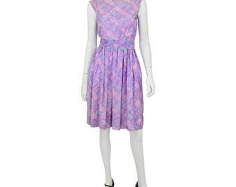 1950's Vintage S or 6 Lilac Purple Geometric & Floral Print Tea Dress Sleeveless Dress