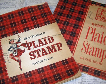 1960s E.F. MacDonald Company's Plaid Stamp Saver Book with Stamps