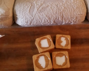 CREATE YOUR OWN states Caramel Bamboo Coasters (Set of Four) - Any State Available!