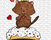 Image #19 - Cupcake Kitty Digital Stamp by Sasayaki Glitter - Naz - Line art only - Black and White