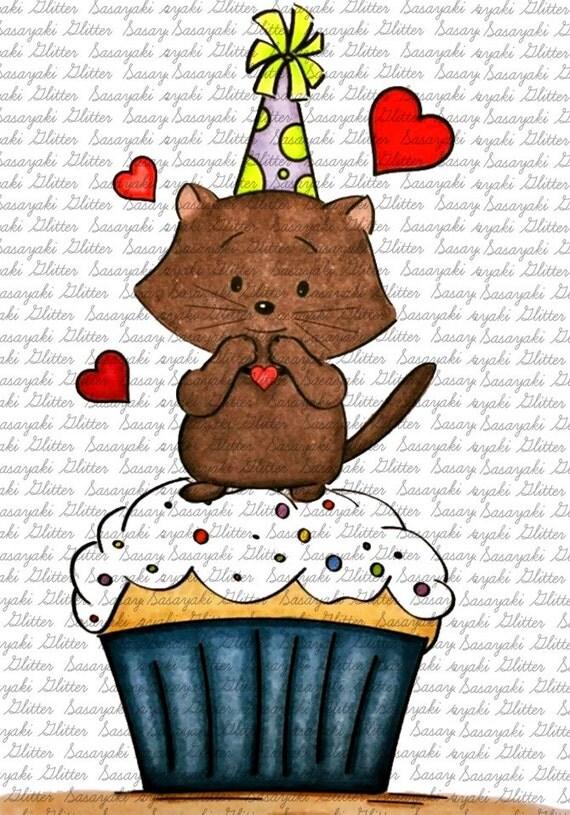 Image #19 - Cupcake Kitty Digital Stamp by Sasayaki Glitter - Naz - Line art only - Black and White