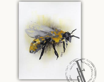 ANIMAL BEE PAINTING on canvas paper // 8''x10''// contemporary oil art modern animal bee painting figurative