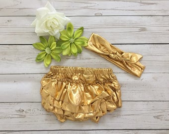Baby Gold diper cover with ruffles and headband, Birthday Baby diper cover