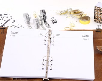 Calendar inserts 2018 A5 1 day 1 page 1T1S-Planner inserts A5 1 day 1 page 1D1P 2018 Filofax 0103-A5-ka