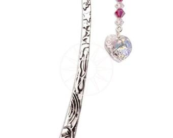 Swarovski Crystal Birthstone Pewter Bookmark With Heart JULY - RUBY