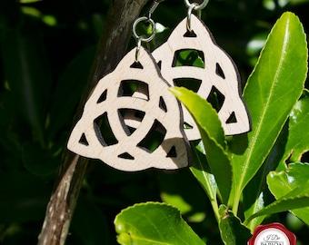 Wooden laser cut dangle earrings with Celtic pattern